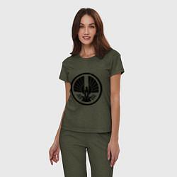 Пижама хлопковая женская The Hunger Games: Symbol цвета меланж-хаки — фото 2
