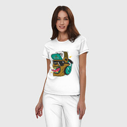 Пижама хлопковая женская Boom, Boom Bear цвета белый — фото 2