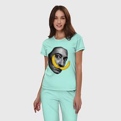 Пижама хлопковая женская Дали с бананами цвета мятный — фото 2