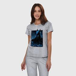 Пижама хлопковая женская Batman цвета меланж — фото 2