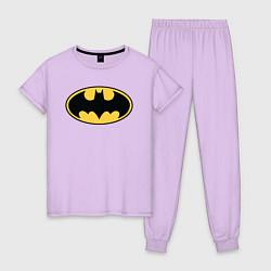 Пижама хлопковая женская Batman цвета лаванда — фото 1