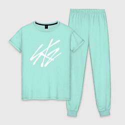 Пижама хлопковая женская Stray Kids цвета мятный — фото 1