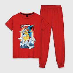 Пижама хлопковая женская Superman цвета красный — фото 1