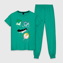 Пижама хлопковая женская Логотипы Justice League цвета зеленый — фото 1