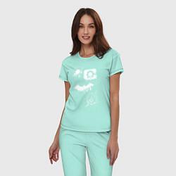Пижама хлопковая женская Логотипы Justice League цвета мятный — фото 2