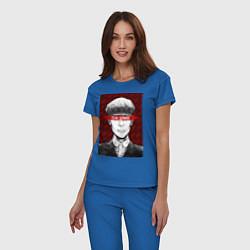 Пижама хлопковая женская Tomas Shelby цвета синий — фото 2