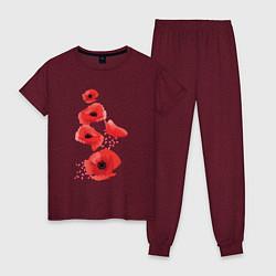 Пижама хлопковая женская Маки цвета меланж-бордовый — фото 1