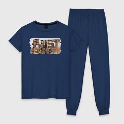 Пижама хлопковая женская Rust цвета тёмно-синий — фото 1