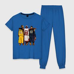 Пижама хлопковая женская Bryant, Jordan, James цвета синий — фото 1