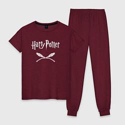Пижама хлопковая женская Гарри Поттер цвета меланж-бордовый — фото 1