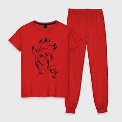 Пижама хлопковая женская Доктор Стоун цвета красный — фото 1