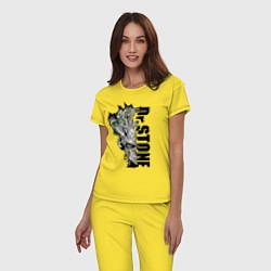 Пижама хлопковая женская Доктор Стоун цвета желтый — фото 2