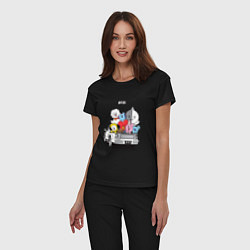 Пижама хлопковая женская BT21 цвета черный — фото 2
