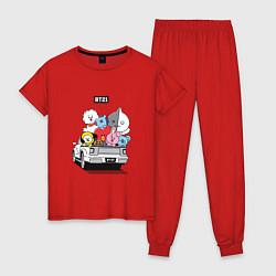 Пижама хлопковая женская BT21 цвета красный — фото 1