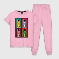 Пижама хлопковая женская BoJack Horseman цвета светло-розовый — фото 1