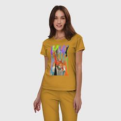 Пижама хлопковая женская Bjork цвета горчичный — фото 2