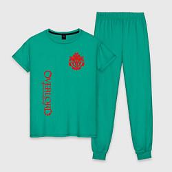Пижама хлопковая женская OVERLORD цвета зеленый — фото 1