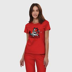 Пижама хлопковая женская The Punisher цвета красный — фото 2