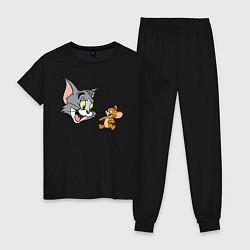 Пижама хлопковая женская Tom & Jerry цвета черный — фото 1