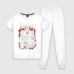 Пижама хлопковая женская Slipknot цвета белый — фото 1