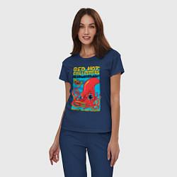 Пижама хлопковая женская Red Hot Chili Peppers цвета тёмно-синий — фото 2