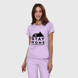 Пижама хлопковая женская Оставайся дома цвета лаванда — фото 2