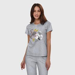Пижама хлопковая женская Дональд Дак каратист цвета меланж — фото 2