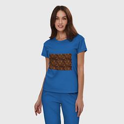 Пижама хлопковая женская Лето золото цветы узор цвета синий — фото 2