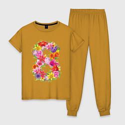 Пижама хлопковая женская 8 марта из цветов цвета горчичный — фото 1