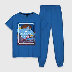 Пижама хлопковая женская Джинн цвета синий — фото 1