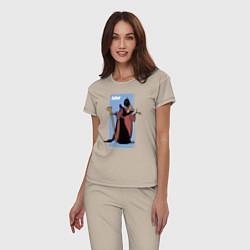 Пижама хлопковая женская Джафар цвета миндальный — фото 2