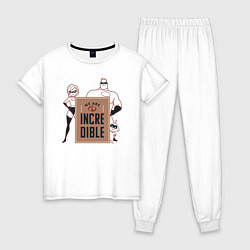 Пижама хлопковая женская Incredibles цвета белый — фото 1
