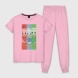 Пижама хлопковая женская Вилли, Билли, Дилли цвета светло-розовый — фото 1