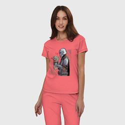 Пижама хлопковая женская Мандалорец и Дитя цвета коралловый — фото 2