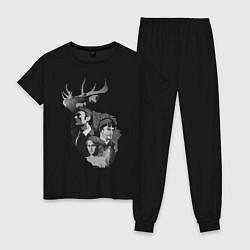Пижама хлопковая женская Hannibal цвета черный — фото 1