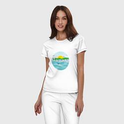 Пижама хлопковая женская Самарский закат цвета белый — фото 2