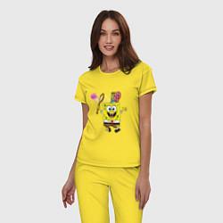 Пижама хлопковая женская Губка Боб цвета желтый — фото 2