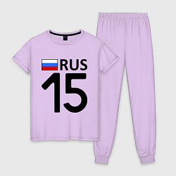 Пижама хлопковая женская RUS 15 цвета лаванда — фото 1