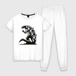 Пижама хлопковая женская Годзилла цвета белый — фото 1