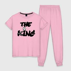 Пижама хлопковая женская Диего Марадона цвета светло-розовый — фото 1