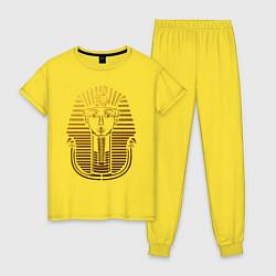 Пижама хлопковая женская Тутанхамон цвета желтый — фото 1