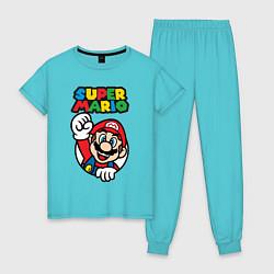 Пижама хлопковая женская Mario цвета бирюзовый — фото 1