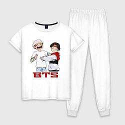 Пижама хлопковая женская BTS цвета белый — фото 1