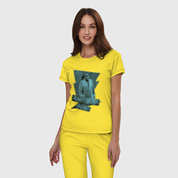 Пижама хлопковая женская Мистер Среда Американские Боги цвета желтый — фото 2