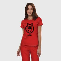 Пижама хлопковая женская Локи шлем цвета красный — фото 2