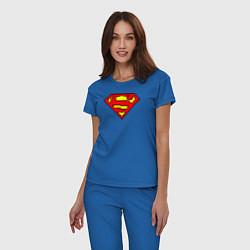 Пижама хлопковая женская Superman 8 bit цвета синий — фото 2