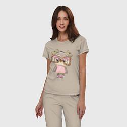 Пижама хлопковая женская Модная малышка совушка цвета миндальный — фото 2