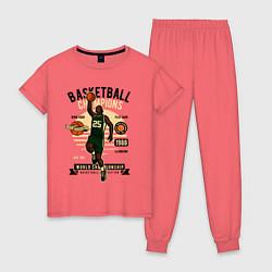 Пижама хлопковая женская Чемпионы по баскетболу цвета коралловый — фото 1