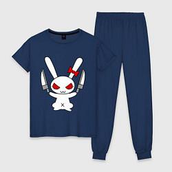 Пижама хлопковая женская Зайка с ножами цвета тёмно-синий — фото 1