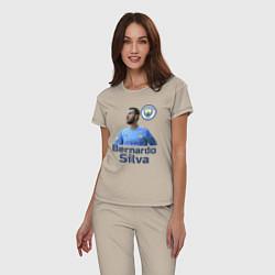 Пижама хлопковая женская Silva Bernardo Манчестер Сити цвета миндальный — фото 2
